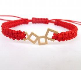 Macrame Red Bracelet , Handmade red macrame bracelet with gold plated squared connector