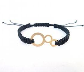 Black and gold Macrame Bracelet , Handmade black macrame bracelet with gold plated bubbles charm