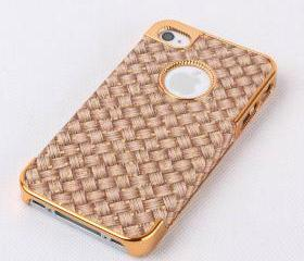 Fashion Gloden Frame with Woven Grain Hard Case For Iphone 5
