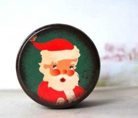 Vintage Santa Wood box - Stocking stuffer