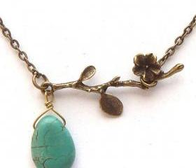 Antiqued Brass Branch Turquoise Necklace