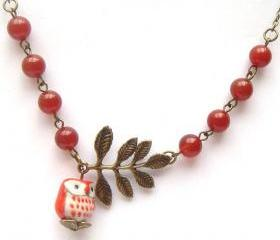 Antiqued Brass Leaf Red Jade Porcelain Owl Necklace