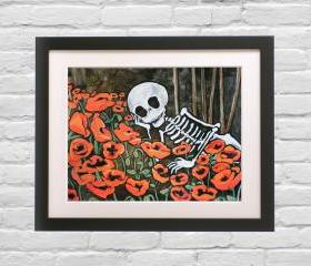 Day of the Dead Art Print - Sugar Skull Mexican folk art poster from original painting 'Poppy Love'