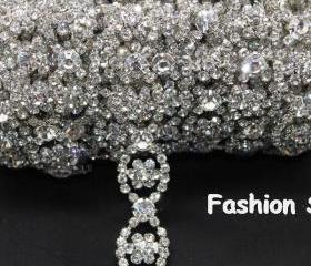 wedding cake decoration bridal applique rhinestone crystal silver trimming 1 yard