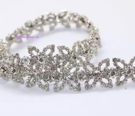 wedding cake decor craft rhinestone crystal silver plating chain trimming 1 yard