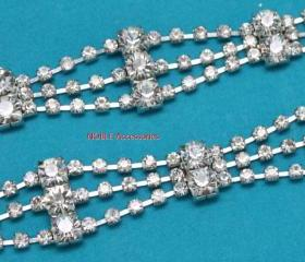 wedding cake decoration diamante rhinestone crystal silver chain trimming 1 yard