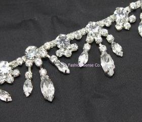 diamante fringe wedding cake rhinestone crystal silver chain drops trimming 1 yard
