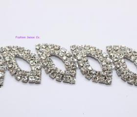 wedding cake dcor rhinestone crystal Marquis silver plating chain trimming 1 yard