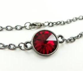 July Birthstone Bracelet Ruby Red Jewelry Red Crystal Bracelet Dark Silver Jewelry Gunmetal Rivoli Chain Bracelet