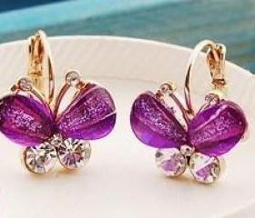Purple Crystal Butterfly Gold Plated Dangle Earrings