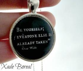 Quote glass pendant necklace