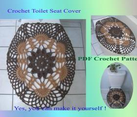 Crochet Pattern - Toilet Seat Cover for Both Standard and Elongated Toilet Seats (33VC2012)
