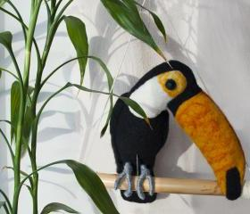Needle felted toucan, bird, zoo, black, yellow, white, swing