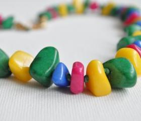 Necklace from natural stone beads, colorful, pink, green, yellow, blue