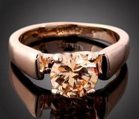 18k GP Rose Gold Citrine Ring Size 7