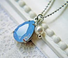 Swarovski Crystal Air Blue Opal Pendant Necklace. White Pearl. Matte Silver Ball Chain