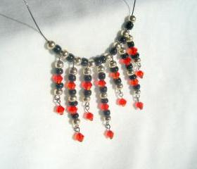 True Blood Necklace Inspired Floating Swarovski Garnet Black Silver White Crystal Dripping Invisible