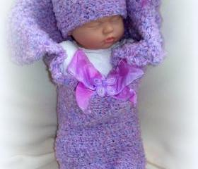 Bundle of Joy Cocoon and Hat set of newborn baby girl