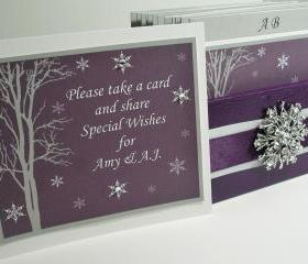 Wedding Guest Book Box - Plum, Grey and White Theme