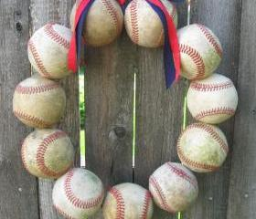  Baseball Love Wreath - two ribbons, no letter