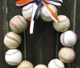 Baseball Love Wreath - three ribbons, no letter