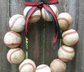 Happy Holidays Baseball Love Wreath - two ribbons, no letter