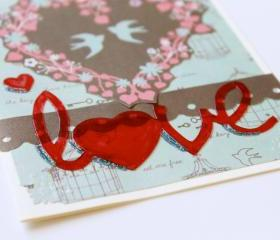 Love Birds Handmade Greeting Card (Blank Inside) by The Leaf Studio. FREE shipping.