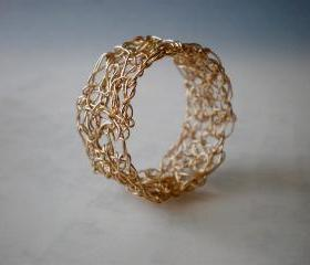 Crochet gold filled ring