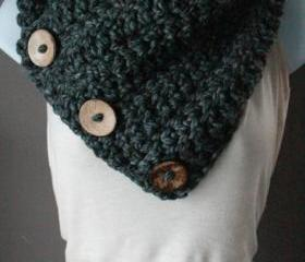 Coconut Button Crochet Cowl