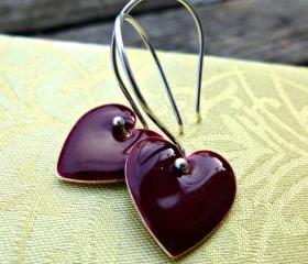 Merlot wine, dark red Heart Earrings, Enamel Earrings. Valentines day. Heart. Romance. Sterling silver Bali Ear Wires. Victorian boho