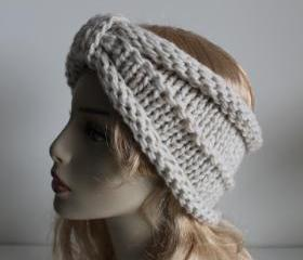 Chunky handmade knitted crochet headband head warmer hat cap cream
