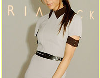 Look ,Victoria Beckham,Gray Elegant Pencil Dress with a belt