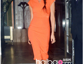 Victoria style, Orange Long Ziper back Stretch Cotton Pencil Dress 1256