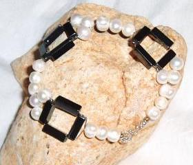 Pearl and Haematite Bracelet Handmade Jewelry