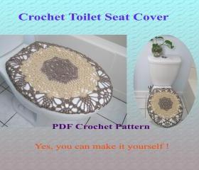 Crochet Pattern - Toilet Seat Cover for Both Standard and Elongated Toilet Seats (1VC2013)--- First New Pattern in 2013