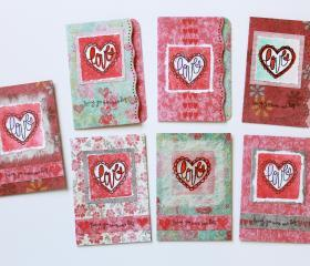 Love Scallop Heart Mini Cards (set of 7) by The Leaf Studio. FREE shipping.