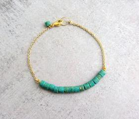 Gold chain bracelet with turquoise stones, simple dainty beaded charm bracelet, Birthstone bracelet