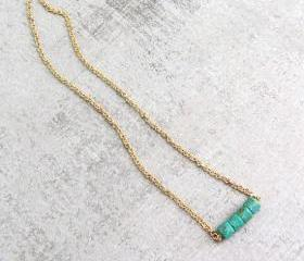 Gold necklace with blue turquoise stones, simple tiny necklace, dainty birthstone Necklace.