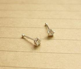 2 mm Small Clear CZ Nose Stud/Nose Earring - Nose Jewelry - Nose Piercing - 925 Sterling Silver Earrings - 1 Pair - Gift under 10
