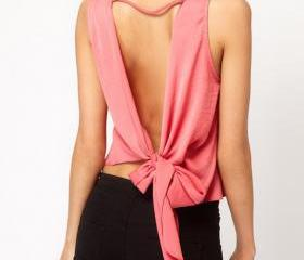 Bow Design Backless Blouse