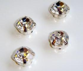 ss16 4mm Loose beads sew on CLEAR diamante rhinestone crystal chaton montee SILVER 144pcs