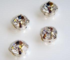 ss20 4.8mm Loose beads sew on CLEAR diamante rhinestone crystal chaton montee SILVER 144pcs