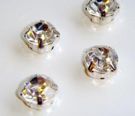 ss28 6mm Loose beads sew on CLEAR diamante rhinestone crystal chaton montee SILVER 144pcs