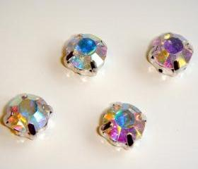 ss28 6mm Loose beads sew on AB diamante rhinestone crystal chaton montee SILVER 144pcs