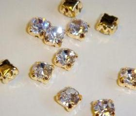 ss16 4mm Loose beads sew on CLEAR diamante rhinestone crystal chaton montee GOLDEN144pcs