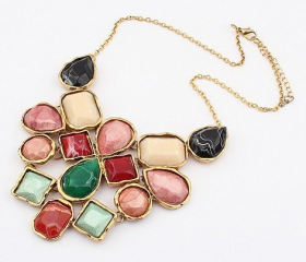 Option Geometry Colorful Resin Stones Statement Necklaces
