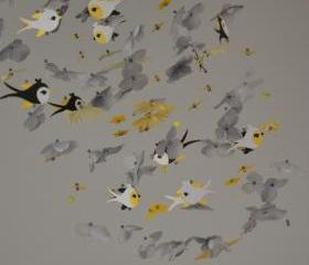 Whimsical Bird mobile Yellow/Gray/Black/White, Nursery Decor, Baby Shower Gift, Chandelier