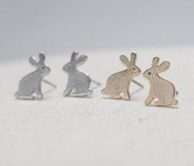 Brushed Bunny Earrings in silver