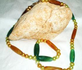 Pearl and Aventurine Necklace handmade Jewelry