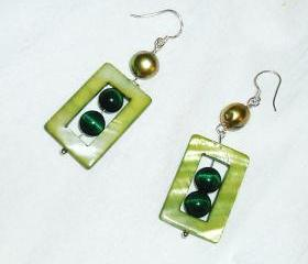 Pearl and Tigers Eye Sterling Silver Earrings